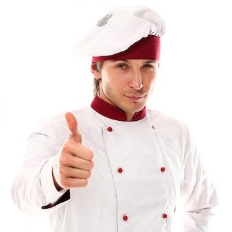 Przystojnego młodego szefa kuchni uśmiechnięty portret