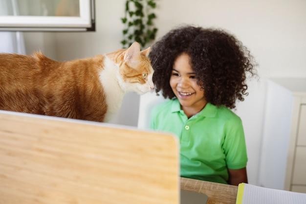 Przystojny mały chłopiec z komputerem i kotem w domu