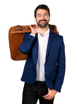 Przystojny mężczyzna trzyma teczkę