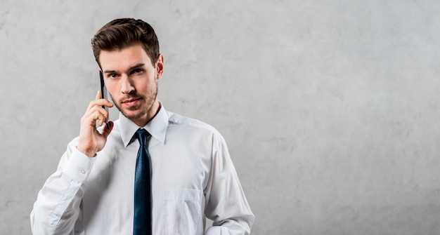 Przystojny młody biznesmen opowiada na telefonie komórkowym przeciw szarej ścianie