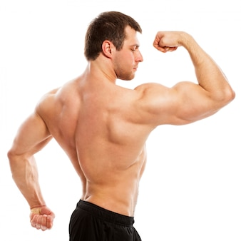 Przystojny, muskularny facet z nagi tors
