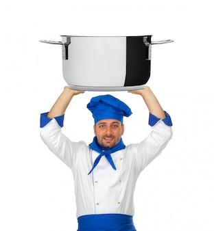 Przystojny szef kuchni z garnkiem odizolowywającym