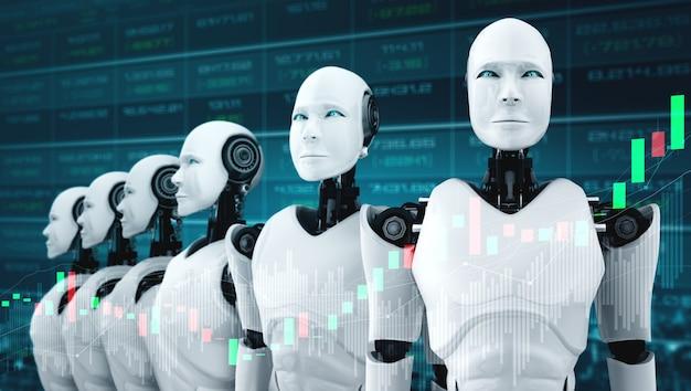Przyszła technologia finansowa kontrolowana przez robota ai z wykorzystaniem uczenia maszynowego