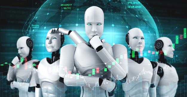 Przyszła technologia finansowa kontrolowana przez robota ai za pomocą uczenia maszynowego