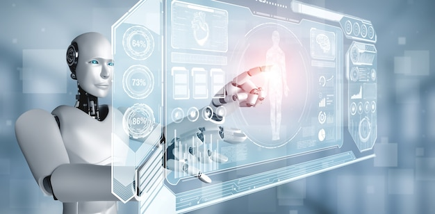Przyszła technologia medyczna kontrolowana przez robota ai wykorzystująca uczenie maszynowe i sztuczną inteligencję do analizy zdrowia ludzi i udzielania porad dotyczących decyzji dotyczących leczenia. ilustracja 3d.