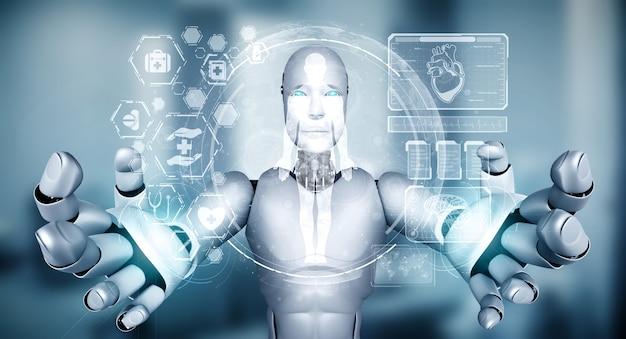 Przyszła Technologia Medyczna Kontrolowana Przez Robota Ai Z Wykorzystaniem Uczenia Maszynowego I Sztucznej Inteligencji Premium Zdjęcia