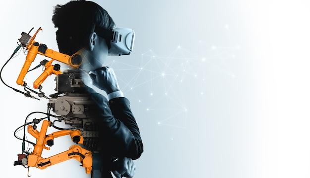 Przyszła technologia vr do zmechanizowanego sterowania ramieniem robota przemysłowego