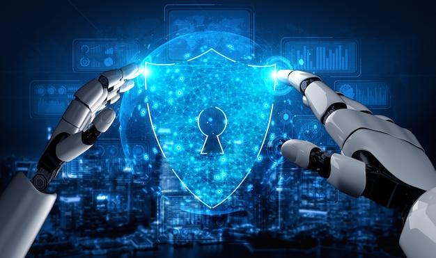 Przyszły robot sztucznej inteligencji i cyborg.