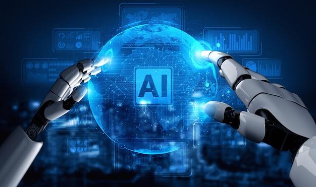 Przyszły Robot Sztucznej Inteligencji I Cyborg. Premium Zdjęcia