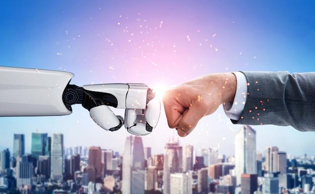 Przyszły robot sztucznej inteligencji i ludzka ręka