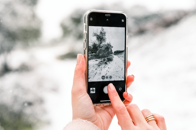 Przytnij anonimową kobietę robiącą zdjęcie zimowego lasu pokrytego śniegiem podczas korzystania ze smartfona