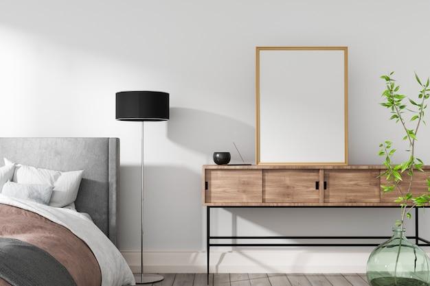 Przytulna sypialnia w ciepłych kolorach z białą ścianą, wazonem i zieloną rośliną renderowania 3d