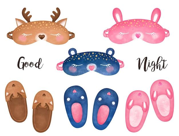Przytulne domowe clipart, zestaw masek do spania, kapcie, maska niedźwiedzia, maska jelenia, ilustracja maski królika