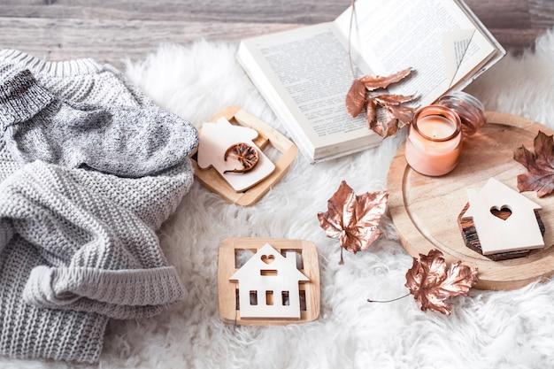 Przytulne jesienne i zimowe wygodne życie domowe.