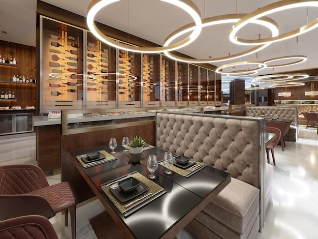 Przytulne luksusowe wnętrze restauracji, wygodne nowoczesne miejsce do spożywania posiłków, współczesny design tła. renderowanie 3d