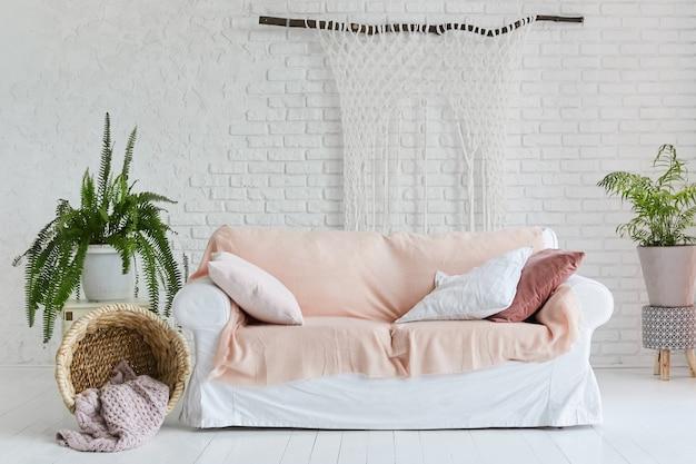 Przytulne wnętrze salonu z białą kanapą i dwoma wazami z roślinami domowymi
