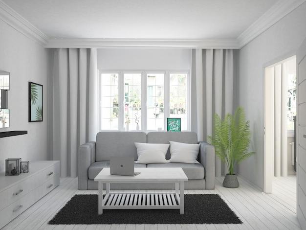 Przytulny, biały salon z zasłonami i drewnianą podłogą