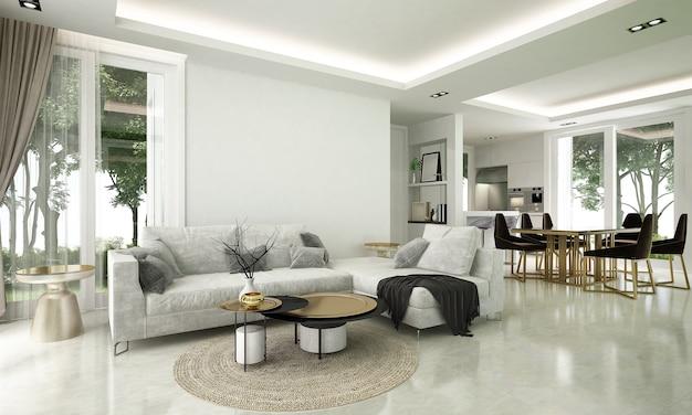 Przytulny nowoczesny design wnętrza salonu i jadalni posiada sofę, fotel oraz lampkę z białą ścianą