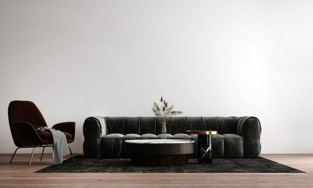 Przytulny nowoczesny design wnętrza salonu posiada sofę, fotel i lampkę z białą ścianą