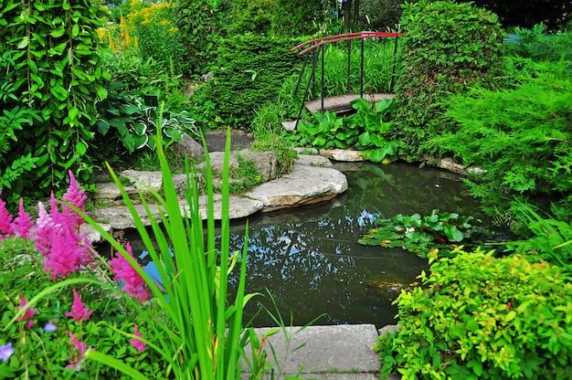 Przytulny ogród z ozdobnym jeziorem i mostem w lecie.