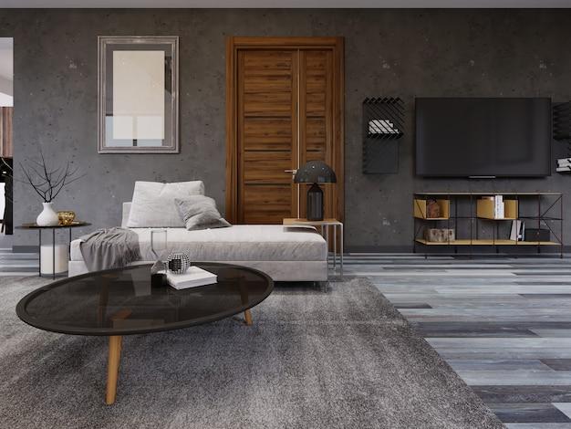 Przytulny salon w stylu loftu z szafką rtv, obrazem na ścianie i sofą ze stolikiem na czasopisma. renderowania 3d.
