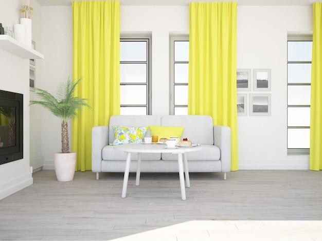 Przytulny salon z żółtymi zasłonami, wygodną kanapą i kominkiem