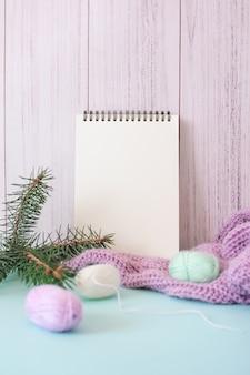 Przytulny świąteczny makieta, kartka z pozdrowieniami