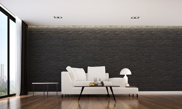 Przytulny wystrój wnętrz i makiety mebli salonu i czarnej cegły ściany tekstury tła i renderowania 3d