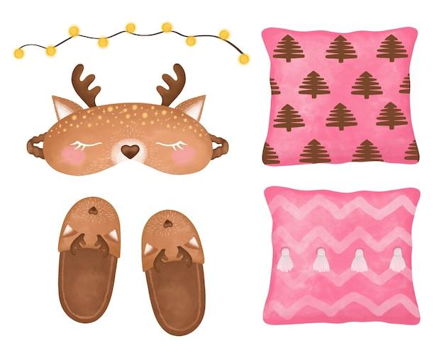 Przytulny zestaw do domu, maska do spania clipart, kapcie, maska do snu jelenia, zestaw dziewczyny planner, girlanda, poduszki, zestaw dobranoc, wystrój, naklejki plannerki