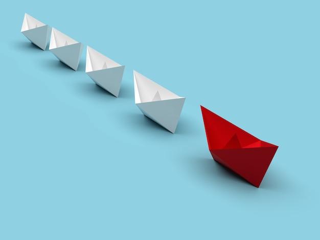 Przywództwo i koncepcja biznesowa. jeden czerwony statek przywódczy prowadzi do przodu inne białe statki