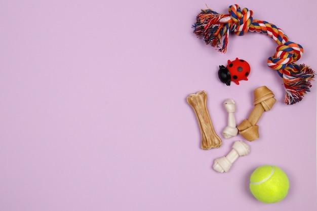 Psi akcesoria, jedzenie i zabawka na purpurowym tle. płaskie leżało. widok z góry.