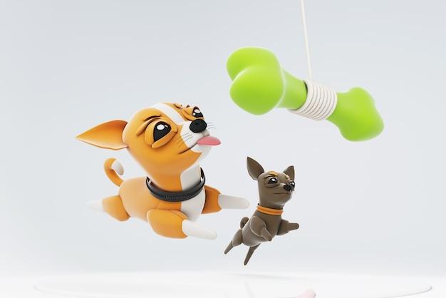 Psy chihuahua bawiące się zabawkową kością