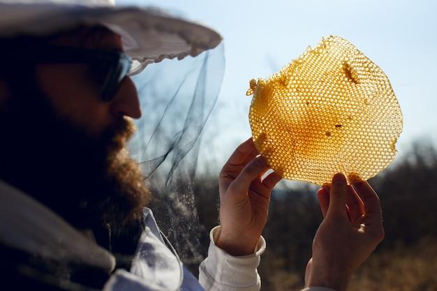 Pszczelarz patrząc uważnie na plaster miodu w słońcu