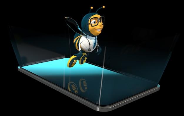 Pszczoła na telefonie - 3d ilustracja