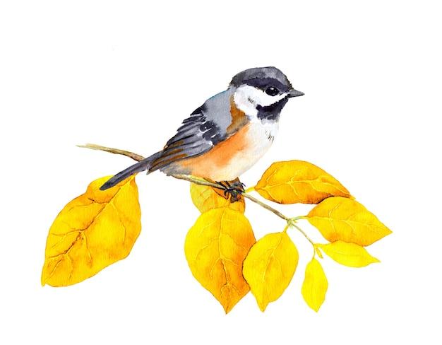 Ptak na jesień gałąź z abstrakcyjnymi żółtymi liśćmi. akwarela