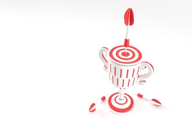 Puchar 3d render trophy ze strzałką uderzającą w centrum celu. metafora osiągnięć. na białym tle na kolor tła.