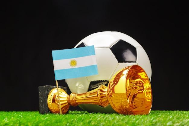 Puchar futbolu z piłką nożną na trawie