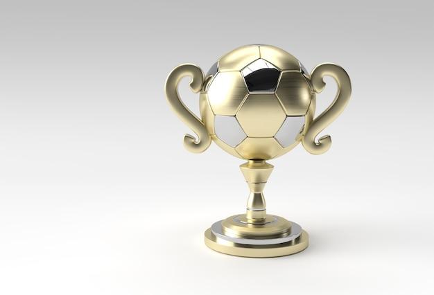 Puchar trofeum piłkarski 3d render na białym tle na kolor tła.
