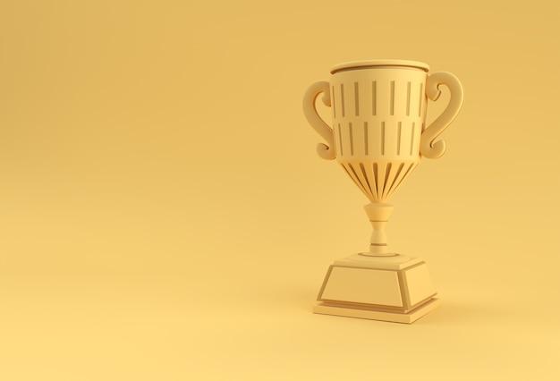 Puchar trofeum renderowania 3d na białym tle na kolor tła.