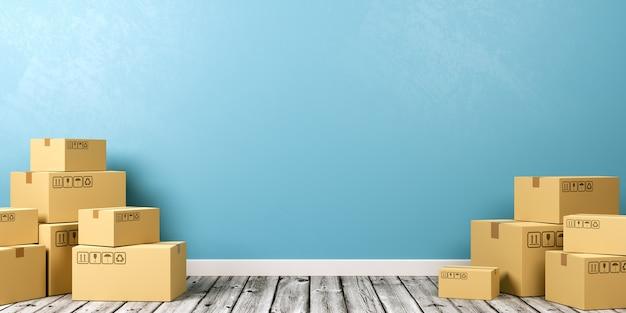 Pudełka kartonowe na drewnianej podłodze