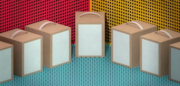 Pudełka kartonowe z uchwytami na tle komiksów