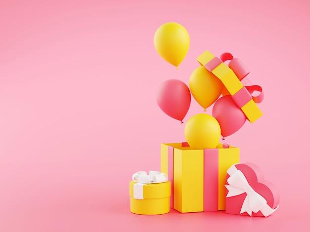 Pudełka na prezenty i balony - 3d ilustracja otwartych pakietów prezentów urodzinowych z wstążkami i latającymi balonami na różowym tle z miejsca na kopię. opakowane ozdobione pudełka na jubileuszowe gratulacje.