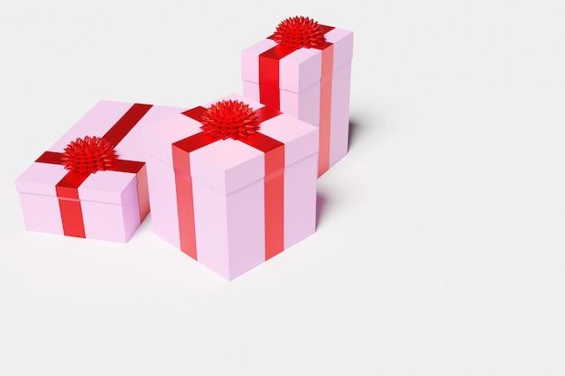 Pudełka na prezenty na białym tle. atrybuty świąteczne, zestaw upominkowy.