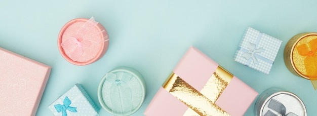 Pudełka na prezenty na niebieskim tle pastelowych, kopia przestrzeń, flatlay
