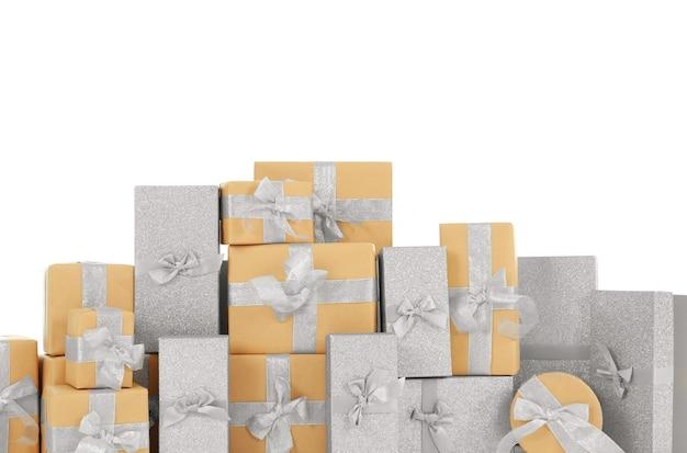 Pudełka na prezenty świąteczne na białym tle