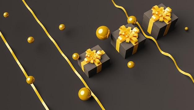 Pudełka na prezenty ze złotymi kulami dookoła i wstążkami skrzyżowanymi na ciemnym tle