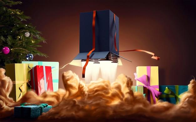 Pudełka świąteczne z dyszami rakietowymi latającymi w pobliżu choinki