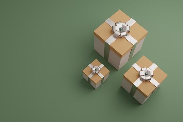 Pudełka z błyszczącymi wstążkami i kokardą. świąteczne opakowanie, minimalistyczny design