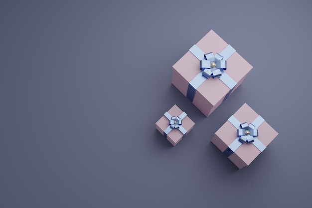 Pudełka z błyszczącymi wstążkami i kokardą. widok z góry tło lato