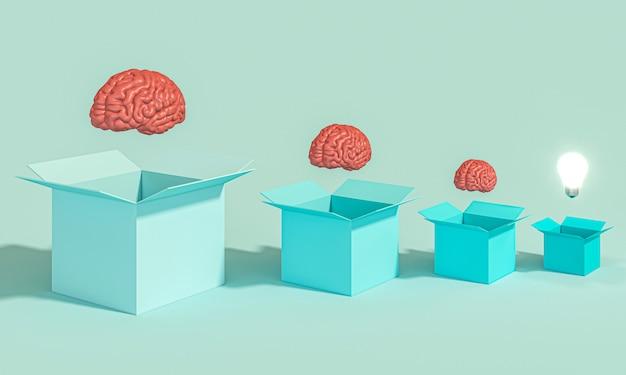 Pudełka z ludzkim mózgiem i zapaloną żarówką.